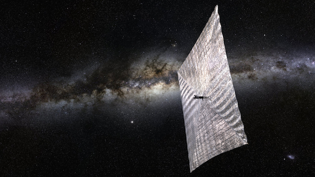 Artist's concept of the LightSail spacecraft after deployment of the solar sail. Credit: The Planetary Society