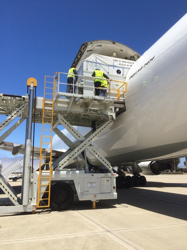 The Jason 3 satellite is offloaded from a Boeing 747F transport plane at Vandenberg Air Force Base on Thursday. Credit: NASA/Mark Mertz