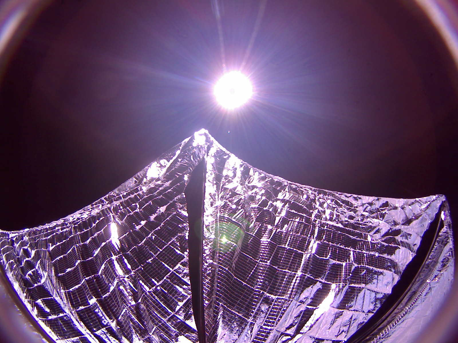 A camera aboard LightSail took this picture of the deployed solar sail. Credit: The Planetary Society