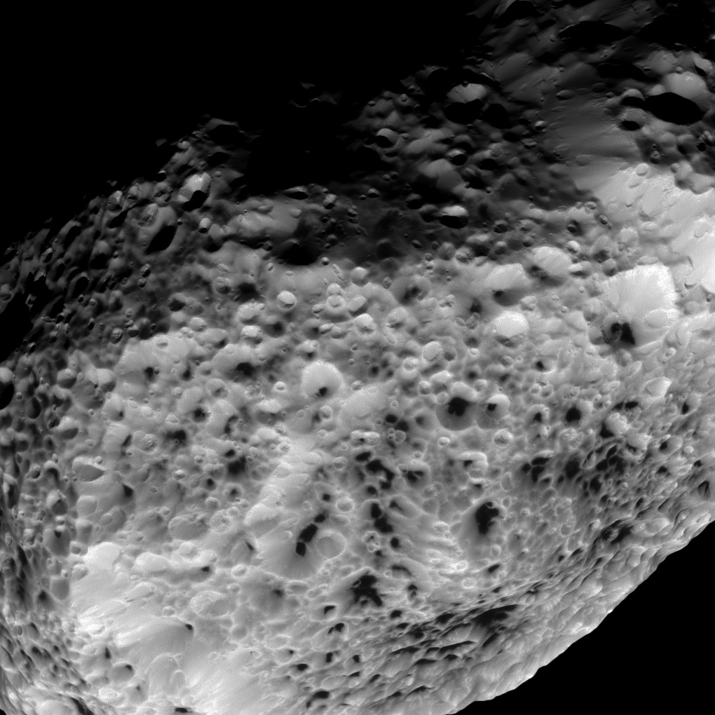 Hyperion's spongy surface comes into focus in this view from Cassini during the spacecraft's May 31 flyby. Credit: NASA/JPL-Caltech/SSI
