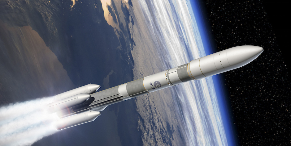 Artist's concept of the Ariane 6 rocket with four solid rocket boosters. Credit: ESA–D. Ducros, 2014