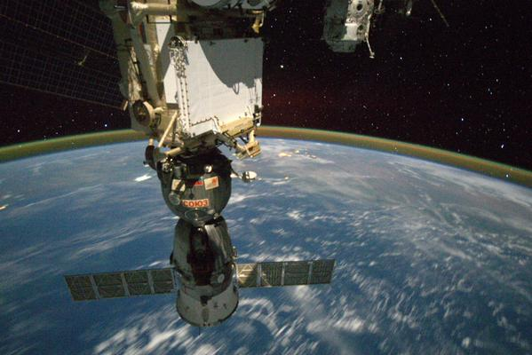 The Soyuz TMA-15M spacecraft is docked to the space station's Earth-facing Rassvet module. Credit: NASA/Terry Virts