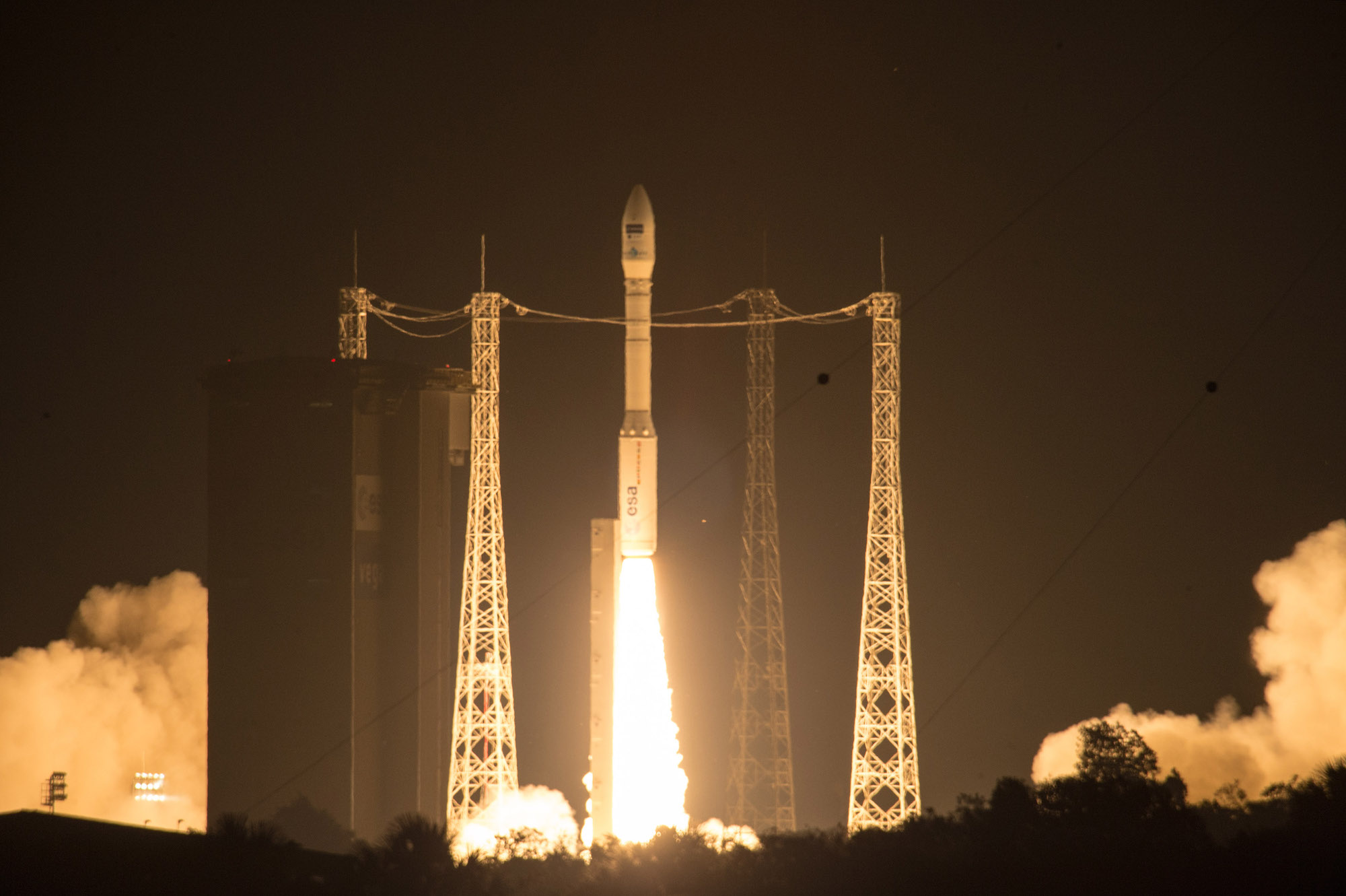 The Vega rocket with Sentinel 2A blasted off at 0151:58 GMT Tuesday (9:51:58 p.m. EDT Monday) from Kourou, French Guiana. Credit: ESA–M. Pedoussaut, 2015
