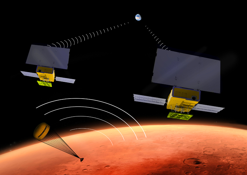Artist's concept of the MarCO CubeSats, illustrating the miniature probes relaying data from the InSight lander to Earth. Credit: NASA/JPL-Caltech