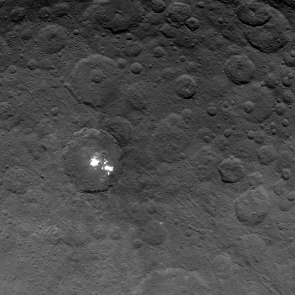 Dawn's framing camera captured this image of the brightest spots on Ceres on June 6. The resolution is 1,400 feet (410 meters) per pixel. Credit: NASA/JPL-Caltech/UCLA/MPS/DLR/IDA