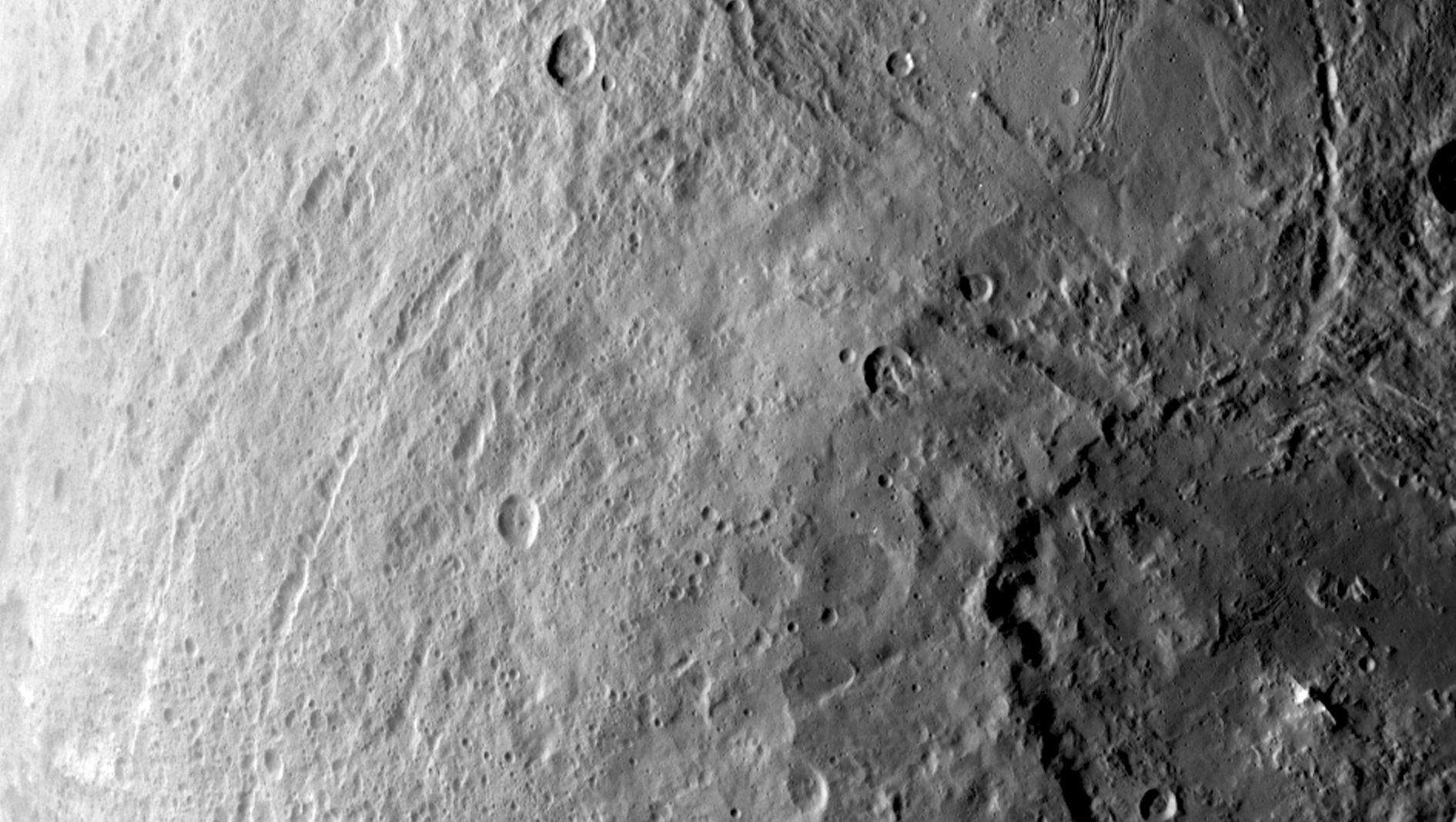 A large crater in the southern hemisphere of the dwarf planet Ceres is seen in this image taken by Dawn on June 6. Credit: NASA/JPL-Caltech/UCLA/MPS/DLR/IDA