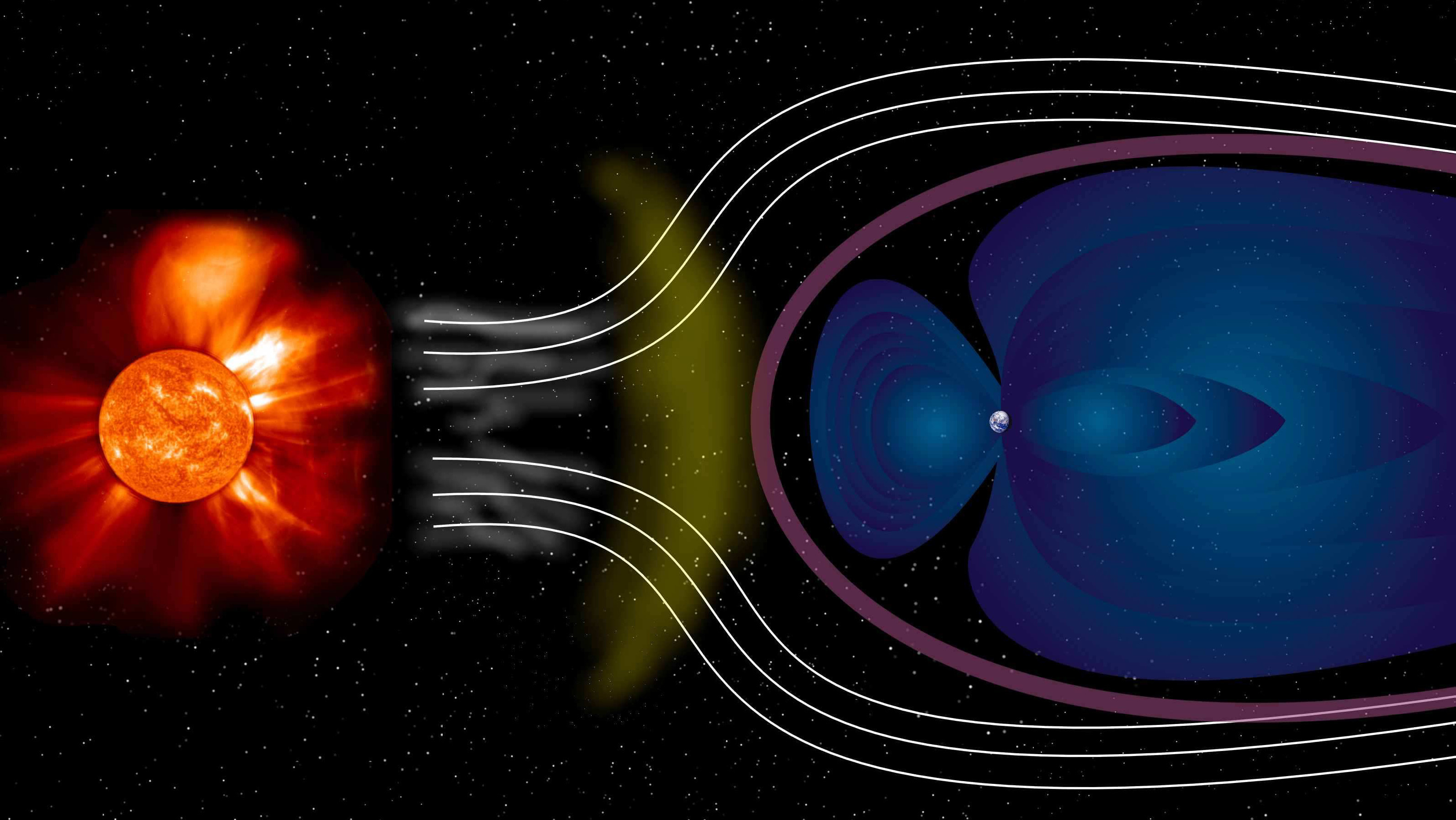 Earth's protective barrier – the magnetosphere – shields it from some of the effects of the supersonic solar wind. Studying the interaction between this wind and the magnetosphere is important for our understanding of space weather. Credit: ESA