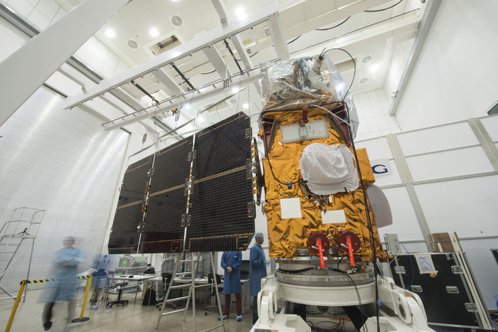 Sentinel 2A's solar array wing is stretched out during a preflight test earlier this year. Credit: ESA/M. Pedoussaut