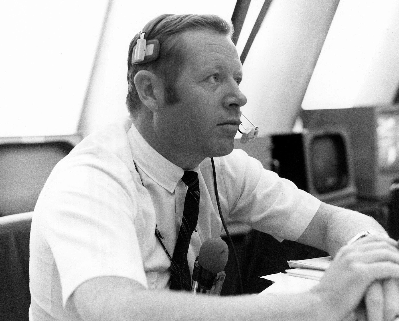 Jack King provided launch countdown commentary for every U.S. human spaceflight mission from Gemini 4 through Apollo 15, with one exception. He is seen here inside the firing room at the Kennedy Space Center's Launch Control Center during the countdown for Apollo 12. Credit: NASA