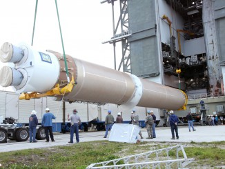 File image of Atlas first stage stacking. Credit: NASA-KSC