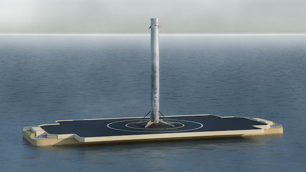 Artist's concept of a Falcon 9 booster after landing on SpaceX's ocean-going platform. Credit: Jon Rosszlsa