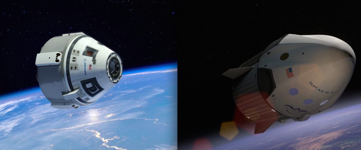 Artist's concepts of Boeing's CST-100 crew capsule and SpaceX's Crew Dragon spacecraft. Credit: Boeing/SpaceX