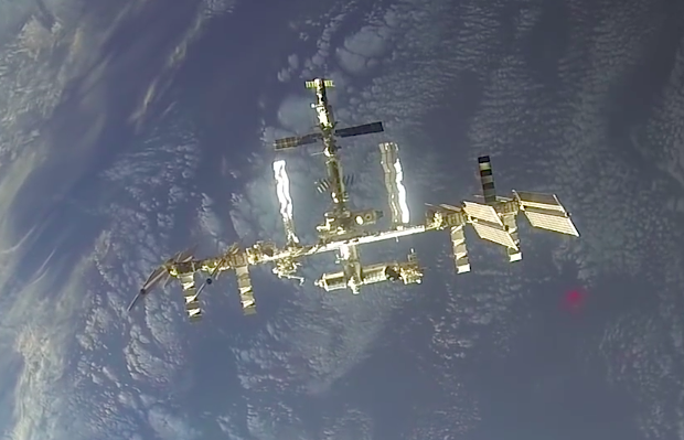 This image of the International Space Station is from a video recorded by a Soyuz spacecraft on final approach to the complex in March. Credit: NASA/Roscosmos