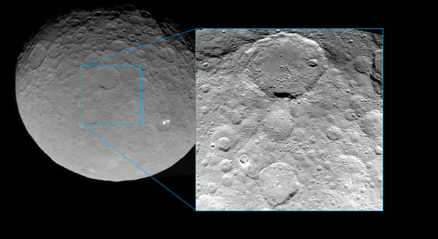 Dawn paused its descent toward Ceres on May 23 to take the picture seen in this inset. Credit: NASA/JPL-Caltech/UCLA/MPS/DLR/IDA