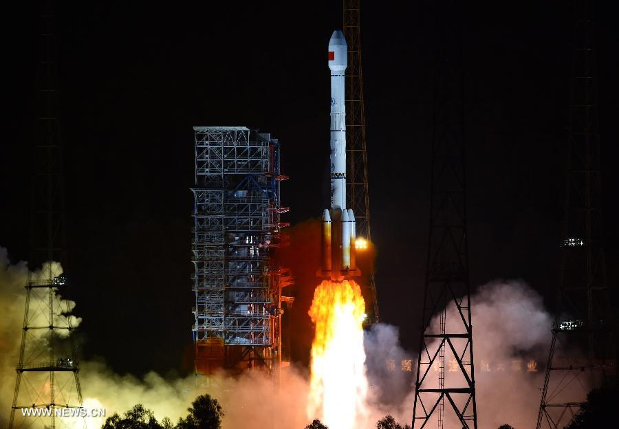 A Long March 3B rocket lifted off from the Xichang space center at 1229 GMT (8:29 a.m. EDT) Saturday with two Beidou navigation satellites. Credit: Xinhua