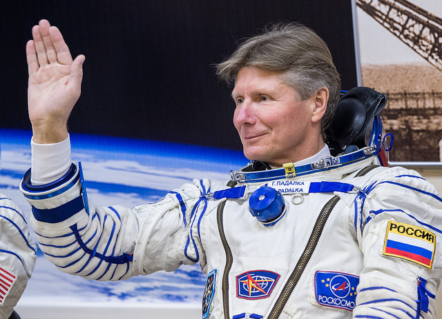 Russian cosmonaut Gennady Padalka waves to family and friends before launching to the International Space Station on March 27. Credit: NASA/Bill Ingalls