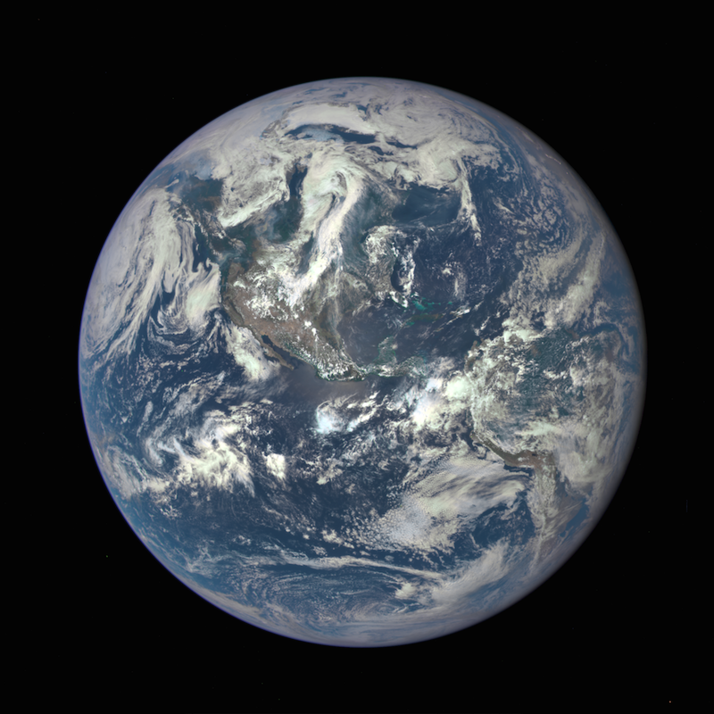 The Earth Polychromatic Imaging Camera, or EPIC, instrument aboard NOAA's Deep Space Climate Observatory captured this image of Earth on July 6. Credit: NASA