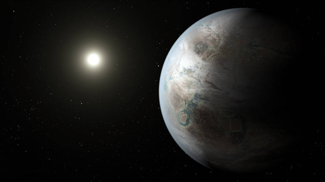 Artist's concept of Kepler-452b, the first near-Earth-size world to be found in the habitable zone of star that is similar to our sun. Credit: NASA Ames/JPL-Caltech/T. Pyle