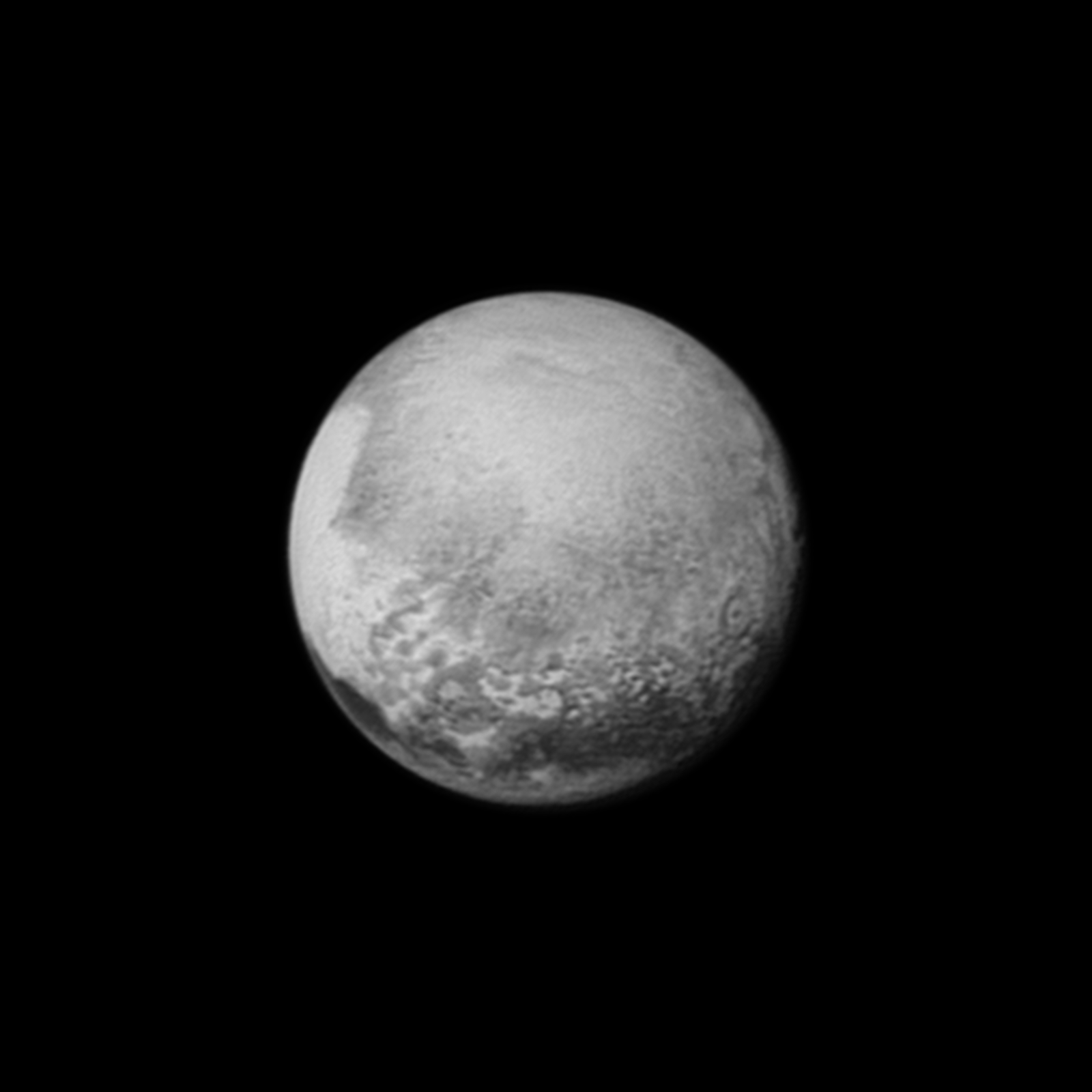 "Pluto's bright, mysterious ""heart"" is rotating into view, ready for its close-up on close approach, in this image taken by New Horizons on July 12 from a distance of 1.6 million miles (2.5 million kilometers). Credit: NASA/JHUAPL/SWRI"