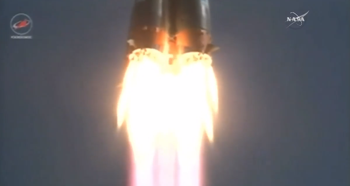 Russia's Progress M-28M spacecraft blasted off at 0455 GMT (12:55 a.m. EDT) Friday. Credit: NASA TV