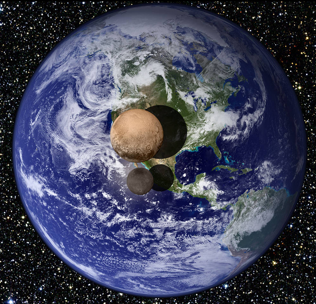 A size comparison of Pluto and Charon with the Earth. Credit: NASA
