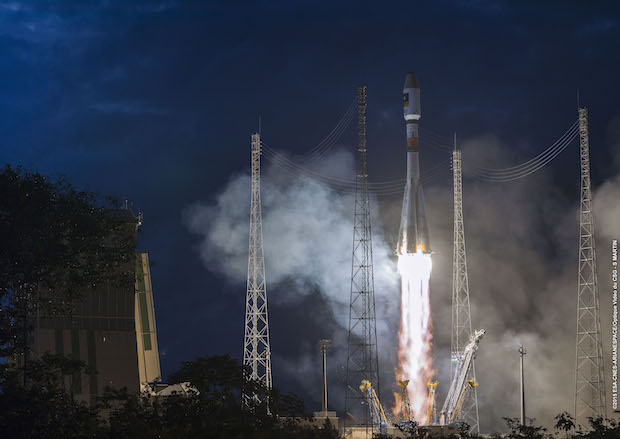 File photo of a Soyuz launch from French Guiana. Credit: ESA/CNES/Arianespace – Optique Video du CSG – S. Martin