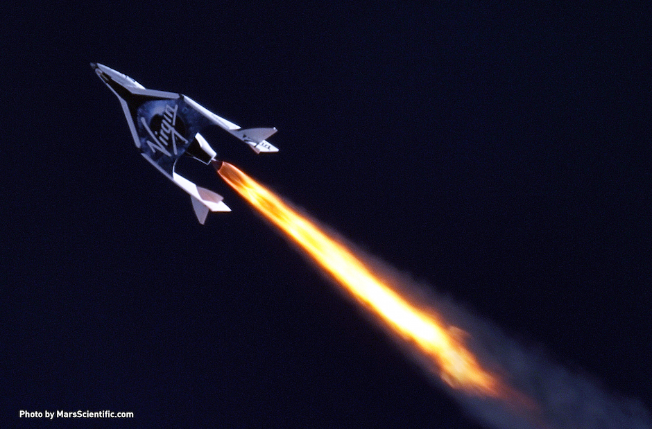 Virgin Galactic's first SpaceShipTwo during its first supersonic powered flight. Credit: MarsScientific.com/Virgin Galactic