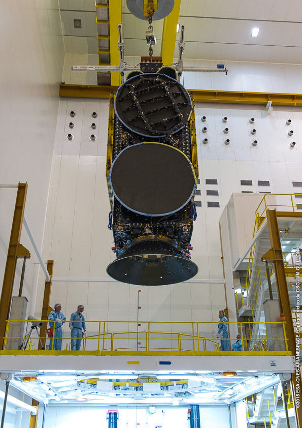 The Star One C4 communications satellite is lifted atop the Ariane 5 rocket's Sylda dual-payload adapter June 26. Credit: ESA/CNES/Arianespace – Optique Video du CSG – JM Guillon