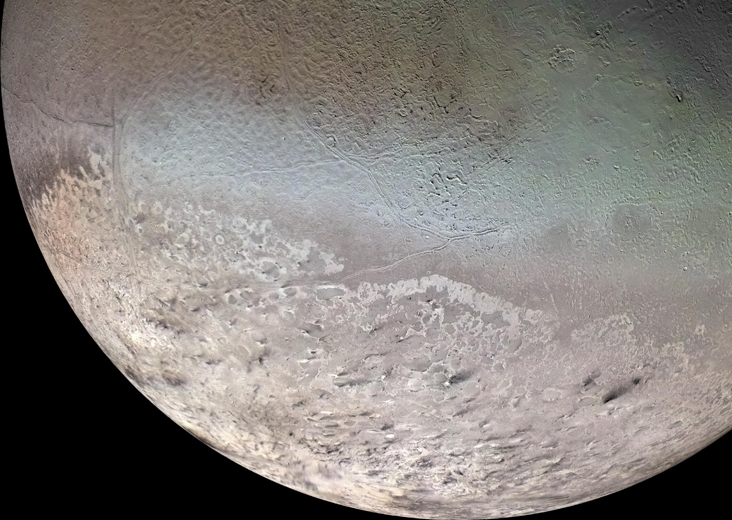 Not Pluto, but Triton! NASA's Voyager 2 spacecraft flew by Neptune and its largest moon Triton in August 1989. Credit: NASA/JPL/USGS