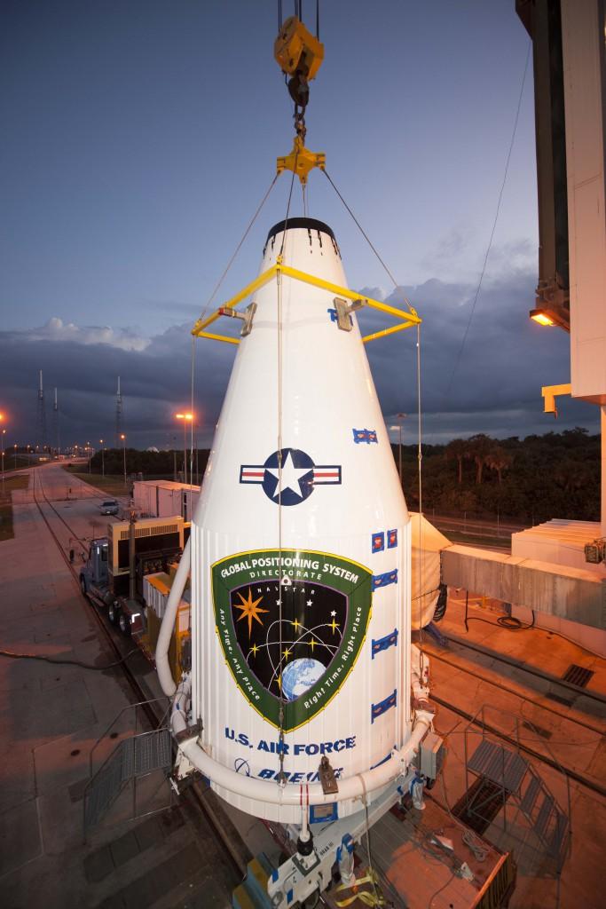 File photo of GPS hoisting atop Atlas. Credit: ULA