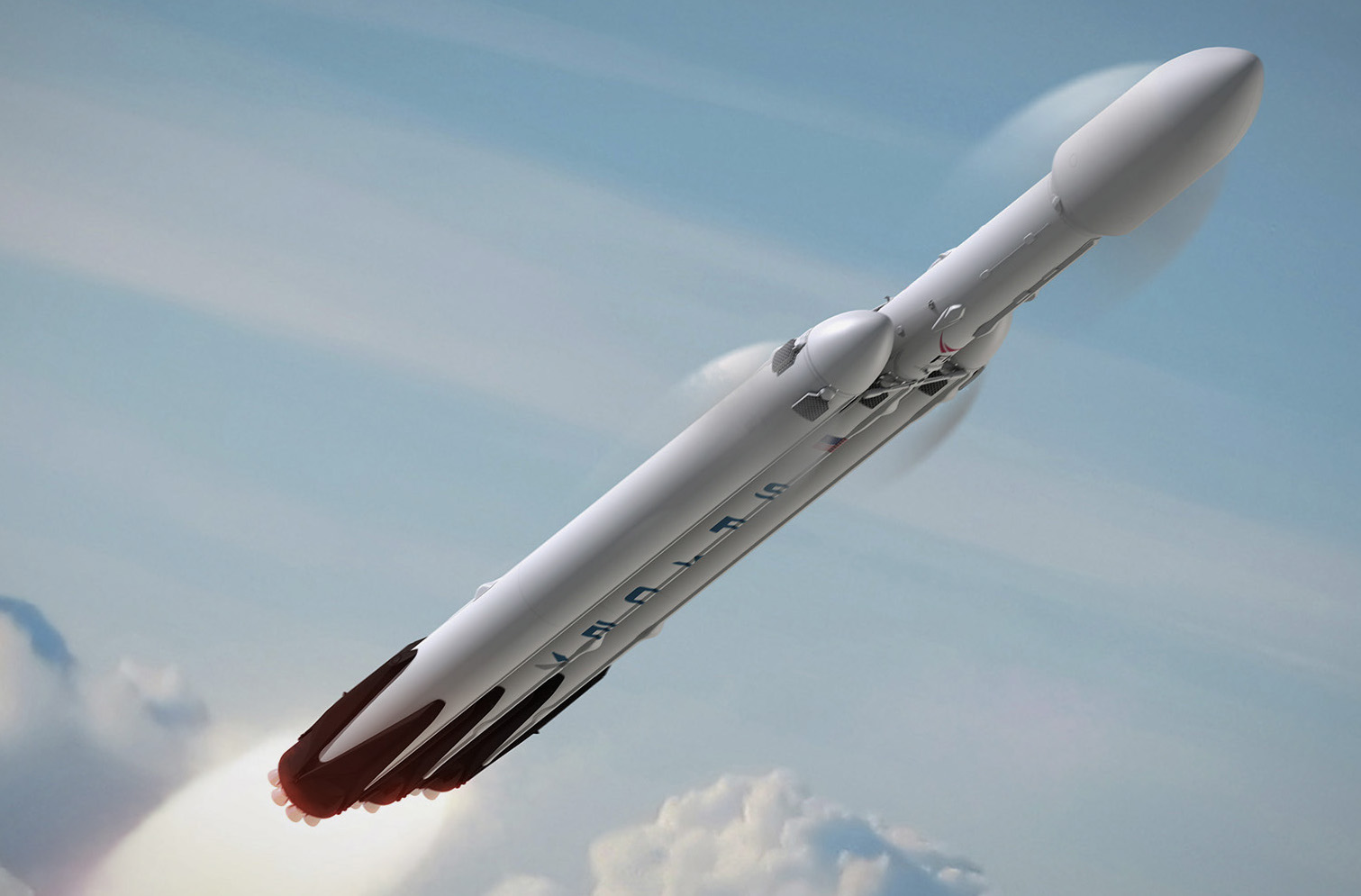 Artist's concept of the Falcon Heavy rocket, which will lift off powered by 27 Merlin main engines, generating nearly 4 million pounds of thrust. Credit: SpaceX