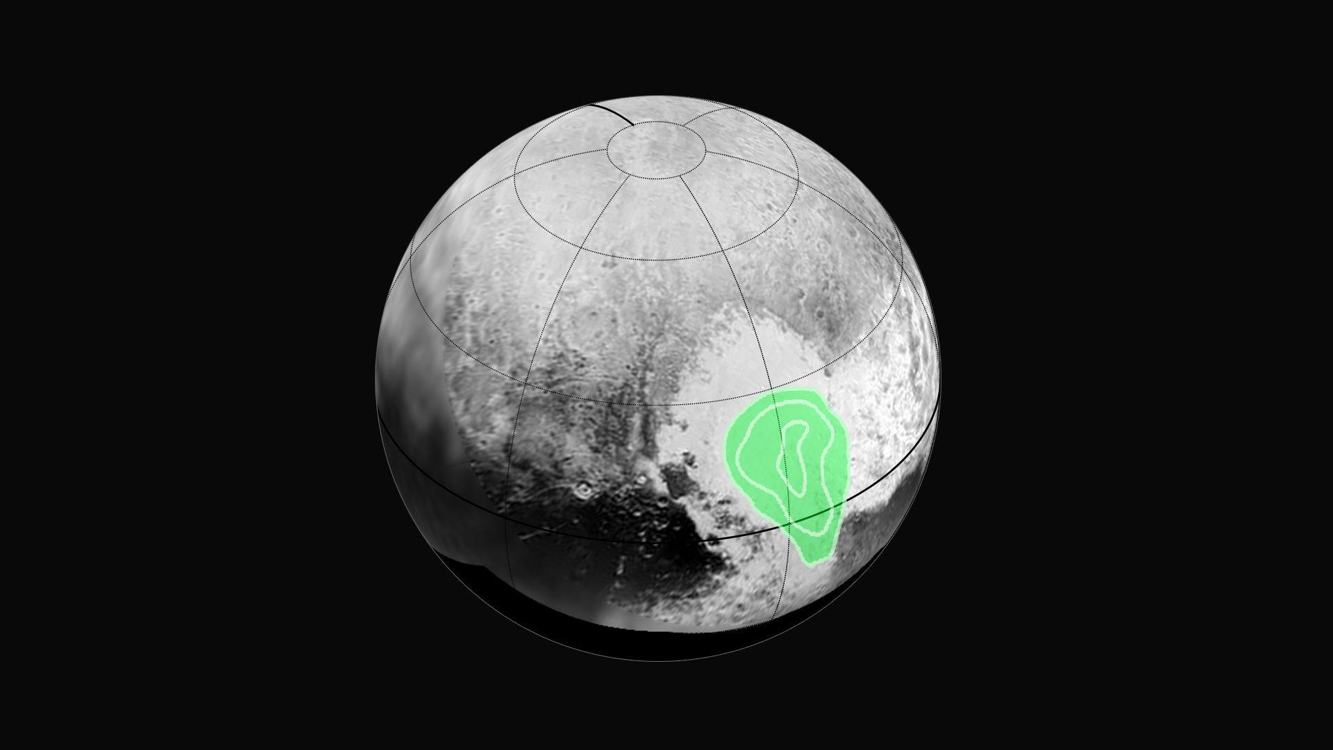The Ralph instrument on New Horizons has discovered the signature of frozen carbon monoxide concentrated in the western half of Pluto's bright heart-shaped feature, informally named Tombaugh Regio. Credit: NASA/JHUAPL/SWRI