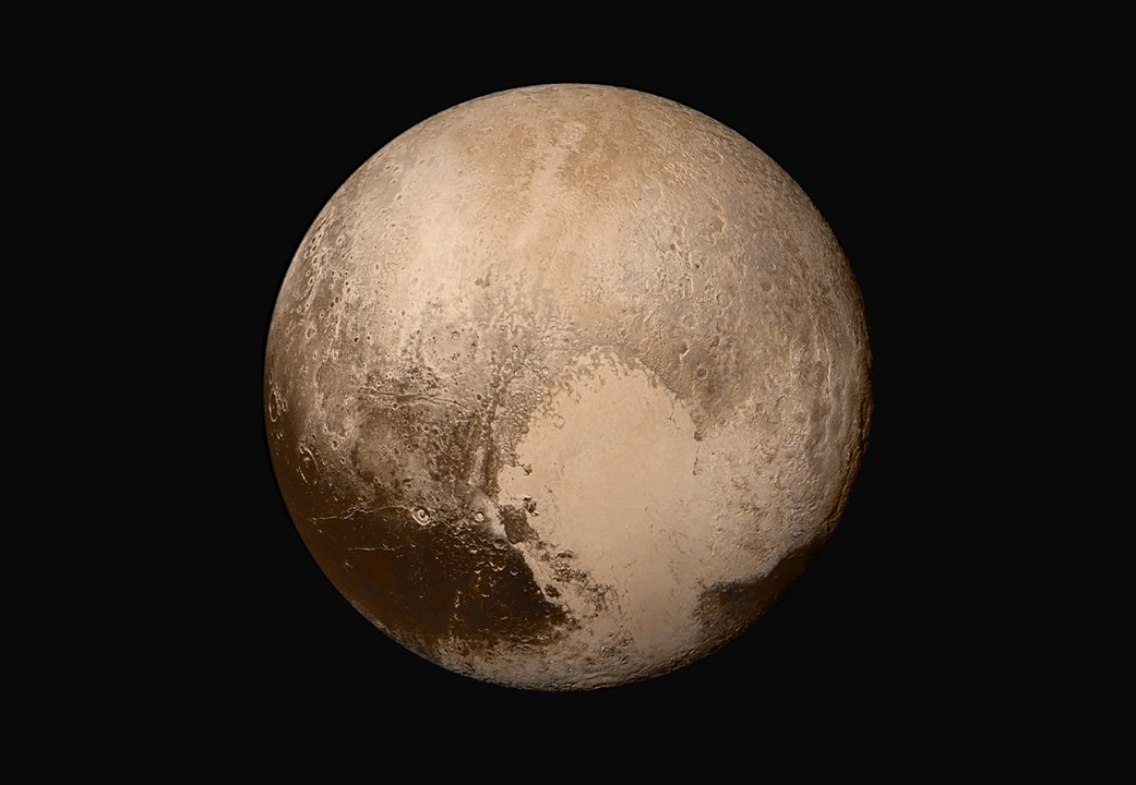 This new global mosaic of Pluto was created by combining four black-and-white images from New Horizons' Long Range Reconnaissance Imager and color data from the probe's Ralph instrument. The LORRI images were taken July 14, when New Horizons was approximately 280,000 miles (450,000 kilometers) from Pluto. Features as small as 1.4 miles (2.2 kilometers) are resolved in this image. Credit: NASA/JHUAPL/SWRI