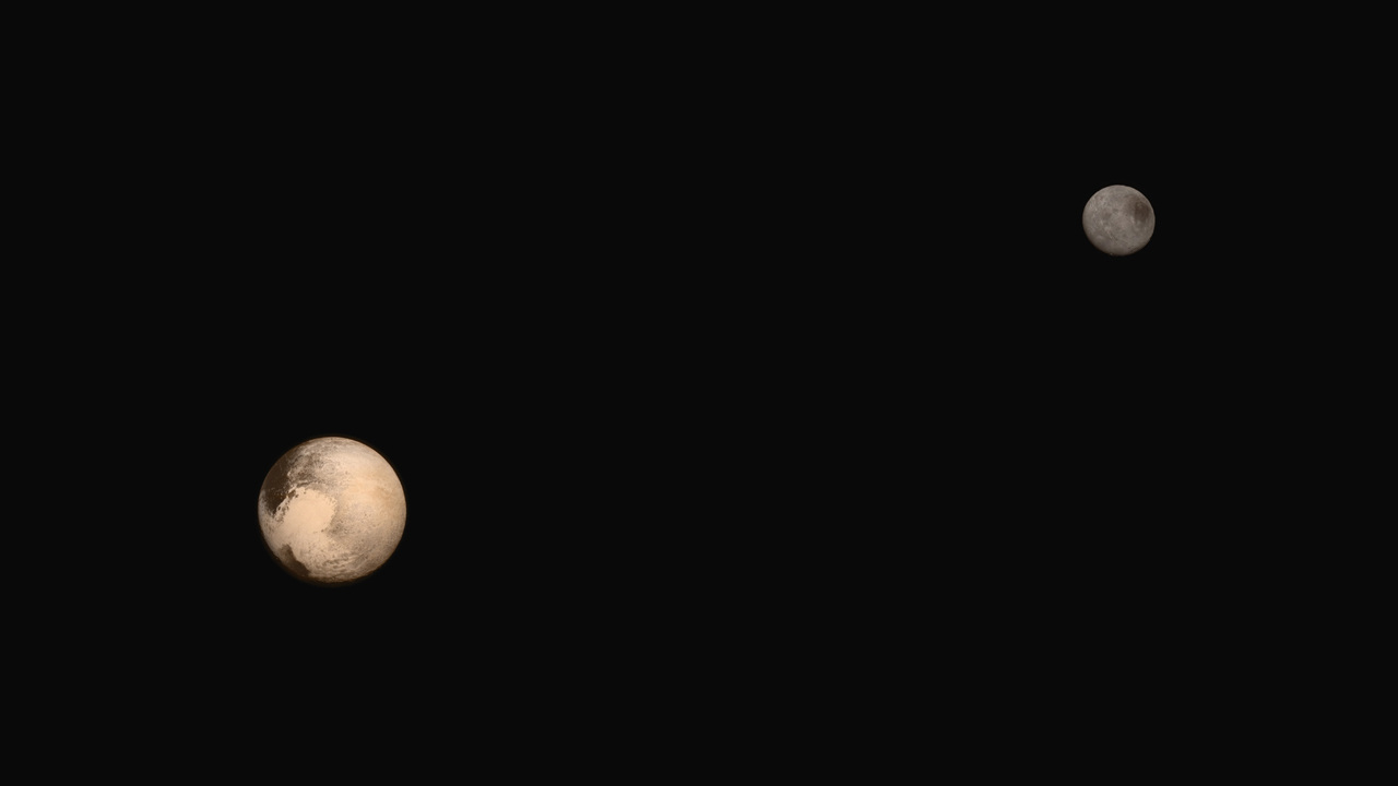 Scientists created this composite of Pluto and its largest moon Charon using the latest full-frame images of the objects from New Horizons on approach. The relative reflectivity, size, separation, and orientations of Pluto and Charon are approximated in this composite image, and they are shown in approximate true color. Credit: NASA/JHUAPL/SWRI