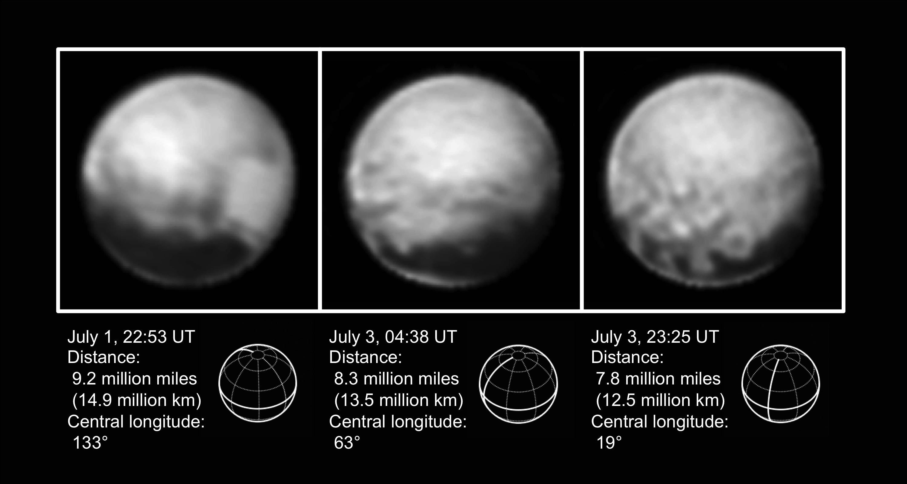 These high-resolution views of Pluto sent by NASA's New Horizons spacecraft include one showing the four mysterious dark spots that have captured the imagination of the world. The Long Range Reconnaissance Imager (LORRI) obtained these three images between July 1-3, 2015. Credit: NASA/Johns Hopkins University Applied Physics Laboratory/Southwest Research Institute