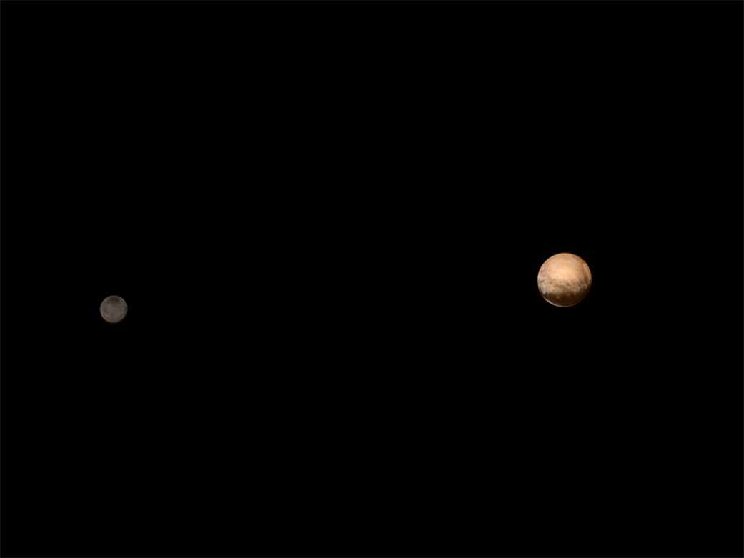New Horizons was about 3.7 million miles (6 million kilometers) from Pluto and Charon when it snapped this portrait late on July 8, 2015. Color data from New Horizons' Ralph instrument was added to colorize the image. Credit: NASA/JHUAPL/SWRI