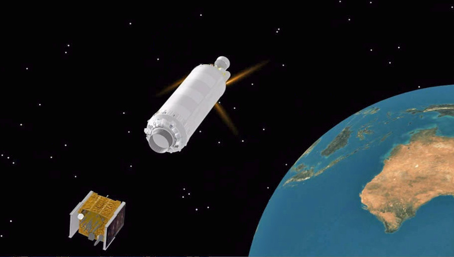 An artist's concept of spacecraft separation from Centaur. Credit: ULA