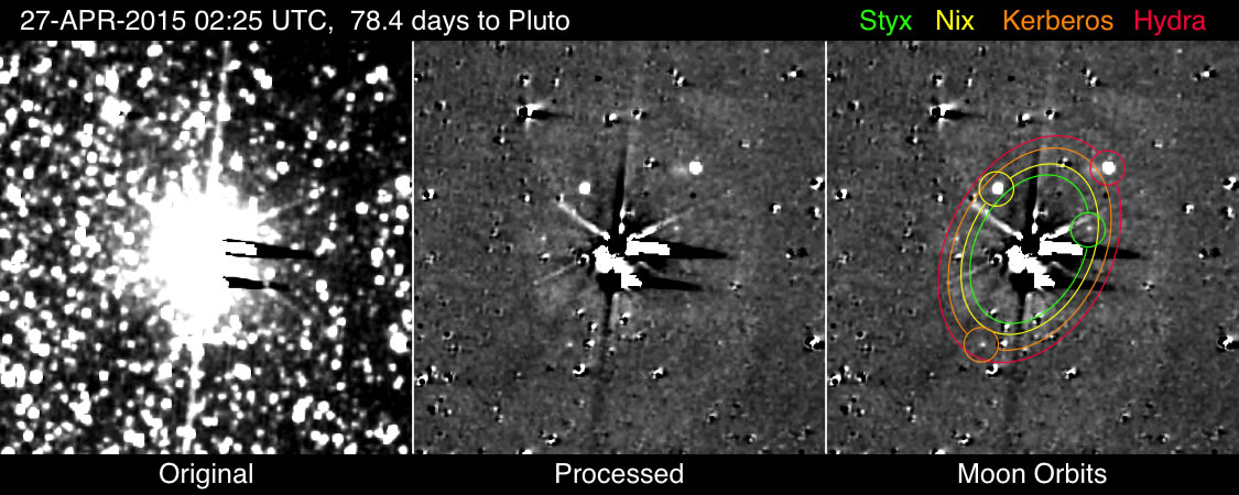 New Horizons resolved all five of Pluto's five known moons in April, and has discovered no new satellites. Credit: NASA/JHUAPL/SWRI