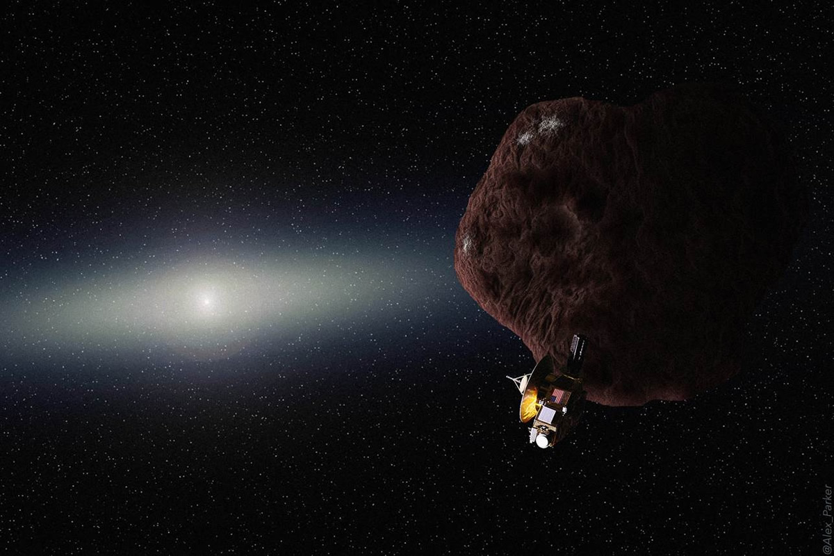 Artist's concept of the New Horizons spacecraft flying by a Kuiper Belt Object. Credit: Alex Parker