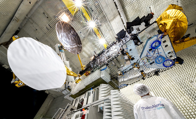 The Eutelsat 8 West B satellite, pictured here during prelaunch testing, will broadcast television to the Middle East and North Africa. Credit: Thales Alenia Space