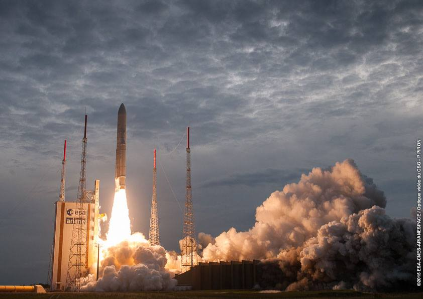 The Ariane 5 rocket lifted off at 2034 GMT (4:34 p.m. EDT) after a brief hold in the countdown. Credit: ESA/CNES/Arianespace – Optique Video du CSG – P. Piron