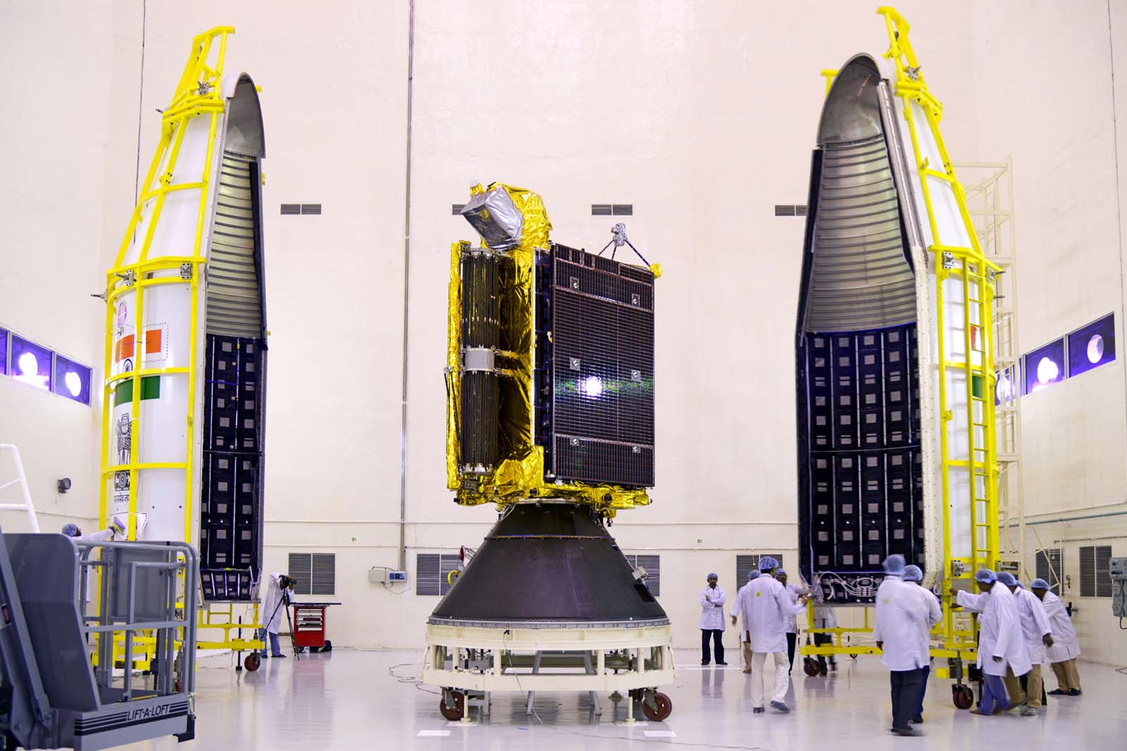 India's GSAT 6 communications satellite is pictured before encapsulation inside the GSLV's payload fairing. Credit: ISRO