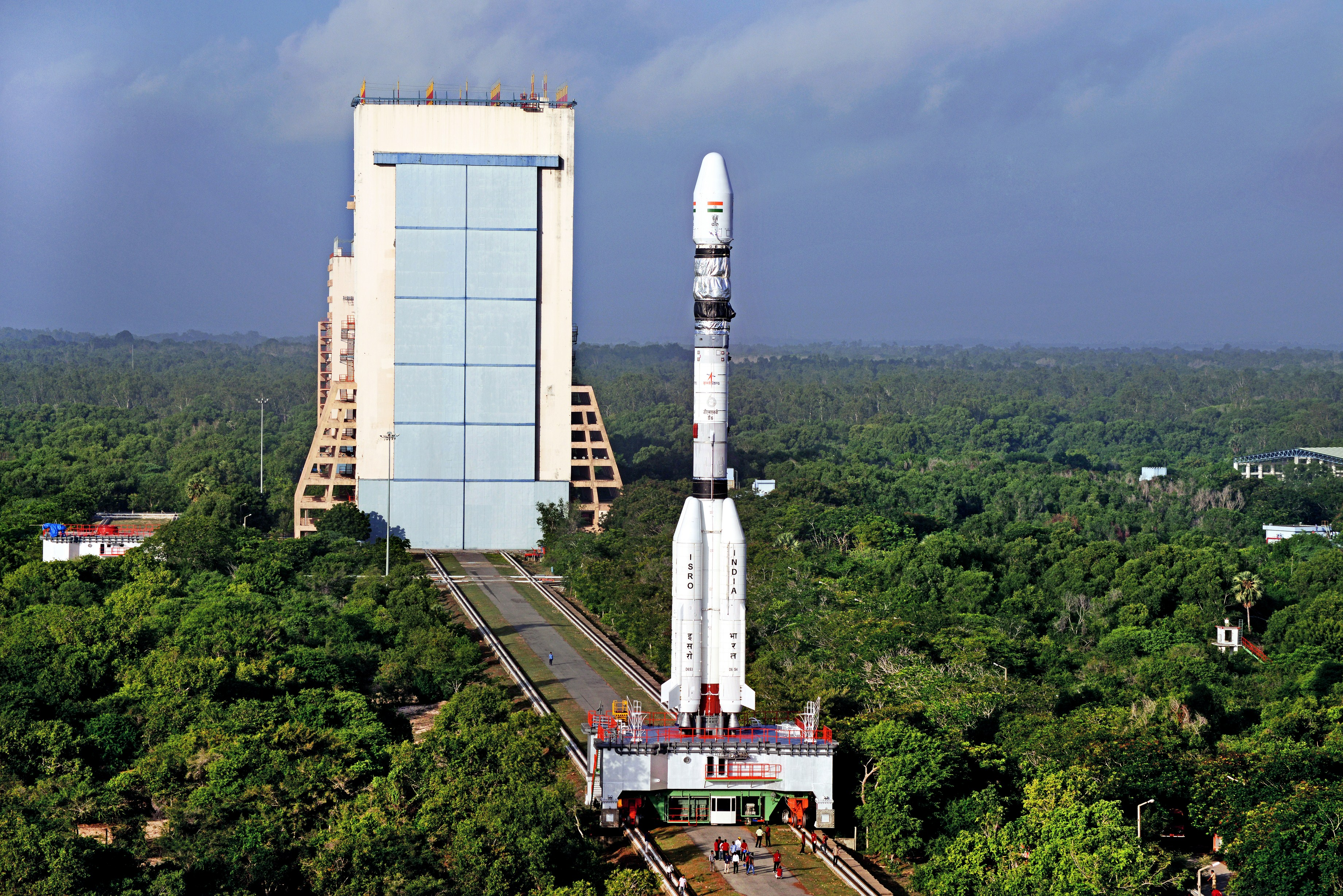 India's Geosynchronous Satellite Launch Vehicle rolls out to the Second Launch Pad at its launch base on Sriharikota Island on India's east coast.