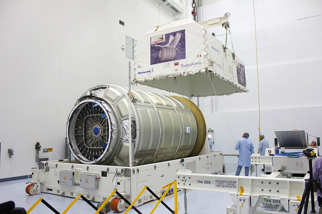 The Italian-built pressurized cargo module for Orbital ATK's next resupply mission to the International Space Station arrived at the Kennedy Space Center in Florida on Aug. 10. The Cygnus service module is due to arrive at KSC in October for launch Dec. 3 aboard an Atlas 5 rocket. Credit: Orbital ATK