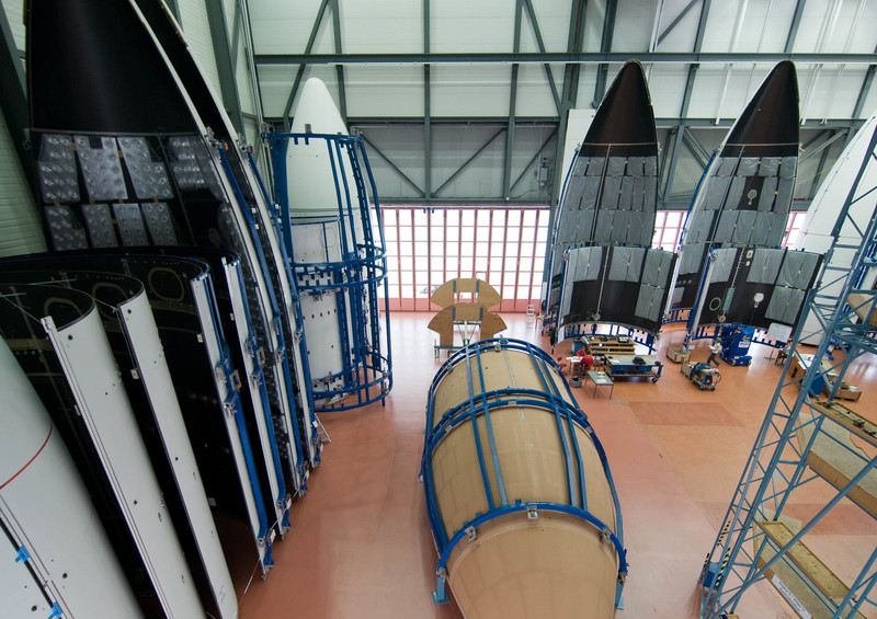 File photo of payload fairings inside Ruag Space's facility in Emmen, Switzerland. Credit: Ruag Space