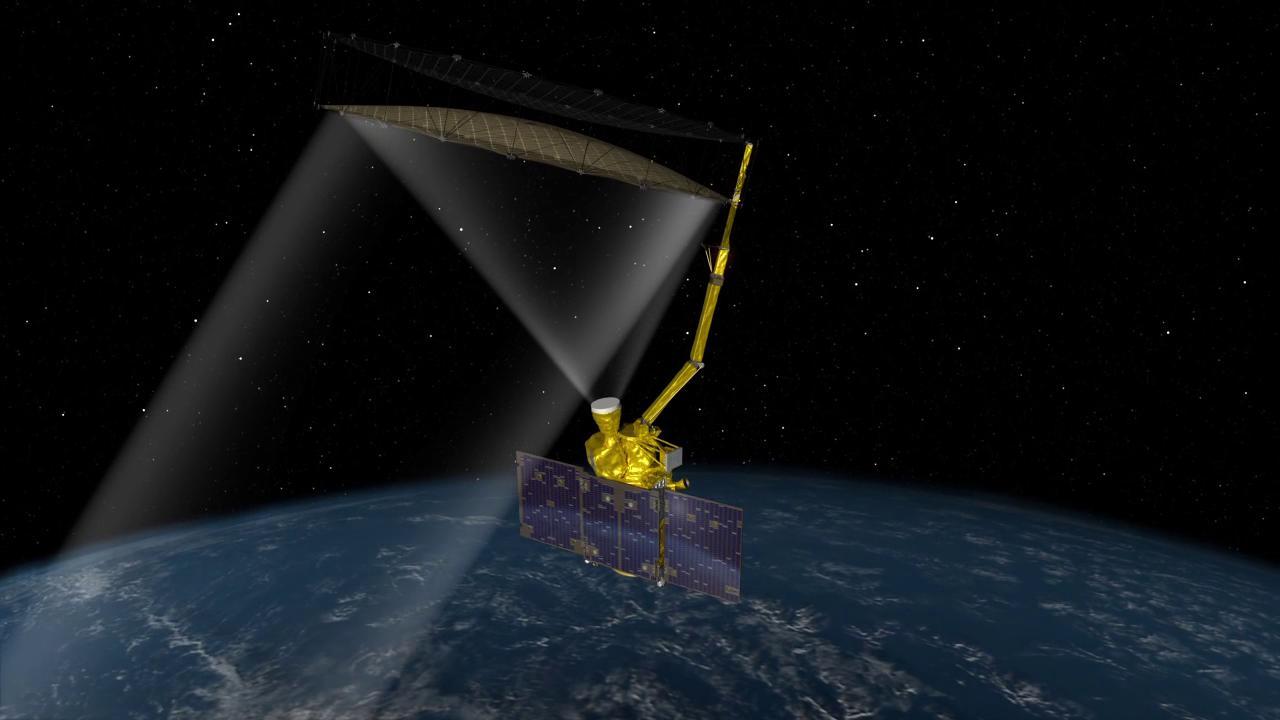 Artist's concept of the Soil Moisture Active Passive spacecraft in orbit. Credit: NASA/JPL-Caltech