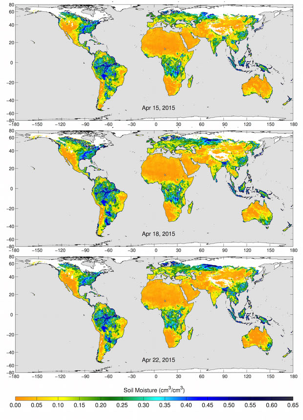 These maps of global soil moisture were created using data from the radiometer instrument on NASA's Soil Moisture Active Passive (SMAP) observatory. Each image is a composite of three days of SMAP radiometer data, centered on April 15, 18 and 22, 2015. The images show the volumetric water content in the top 2 inches (5 centimeters) of soil. Wetter areas are blue and drier areas are yellow. White areas indicate snow, ice or frozen ground. Credit: NASA/JPL-Caltech/GSFC