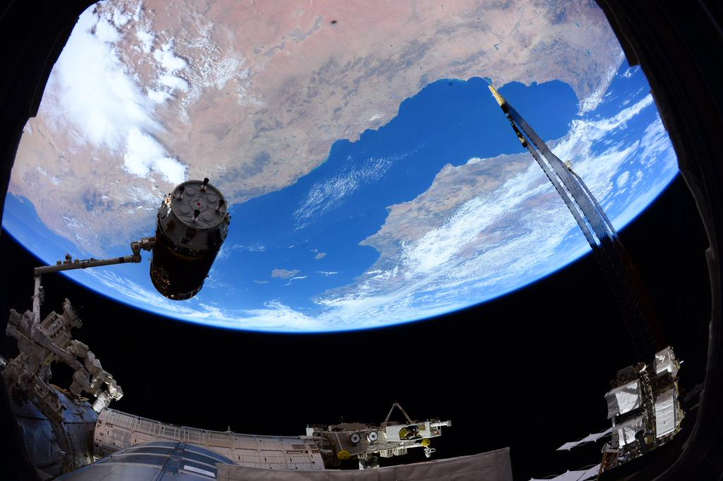 The HTV supply ship arrived at the space station after a five-day flight from a Japanese launch pad. Credit: NASA/Scott Kelly