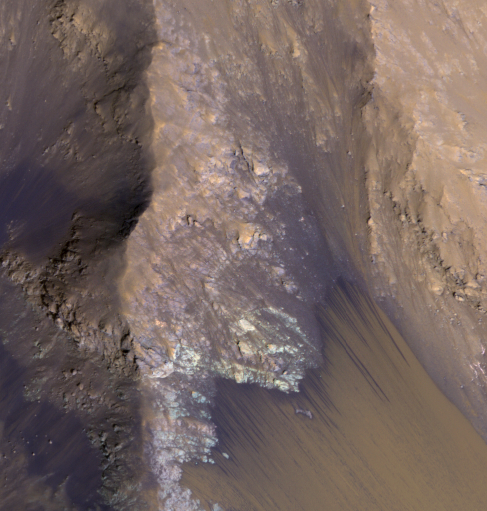 This image from MRO's HiRISE camera captured July 30 shows flows in Mars' vast Valles Marineris canyon system. The flows emanate from the relatively bright bedrock and flow onto sandy fans, where they are remarkably straight, following linear channels. Valles Marineris contains more of these flows than everywhere else on Mars combined, and they are always active although on changing slope aspects with season. Credit: NASA/JPL/University of Arizona; Caption by Alfred McEwen