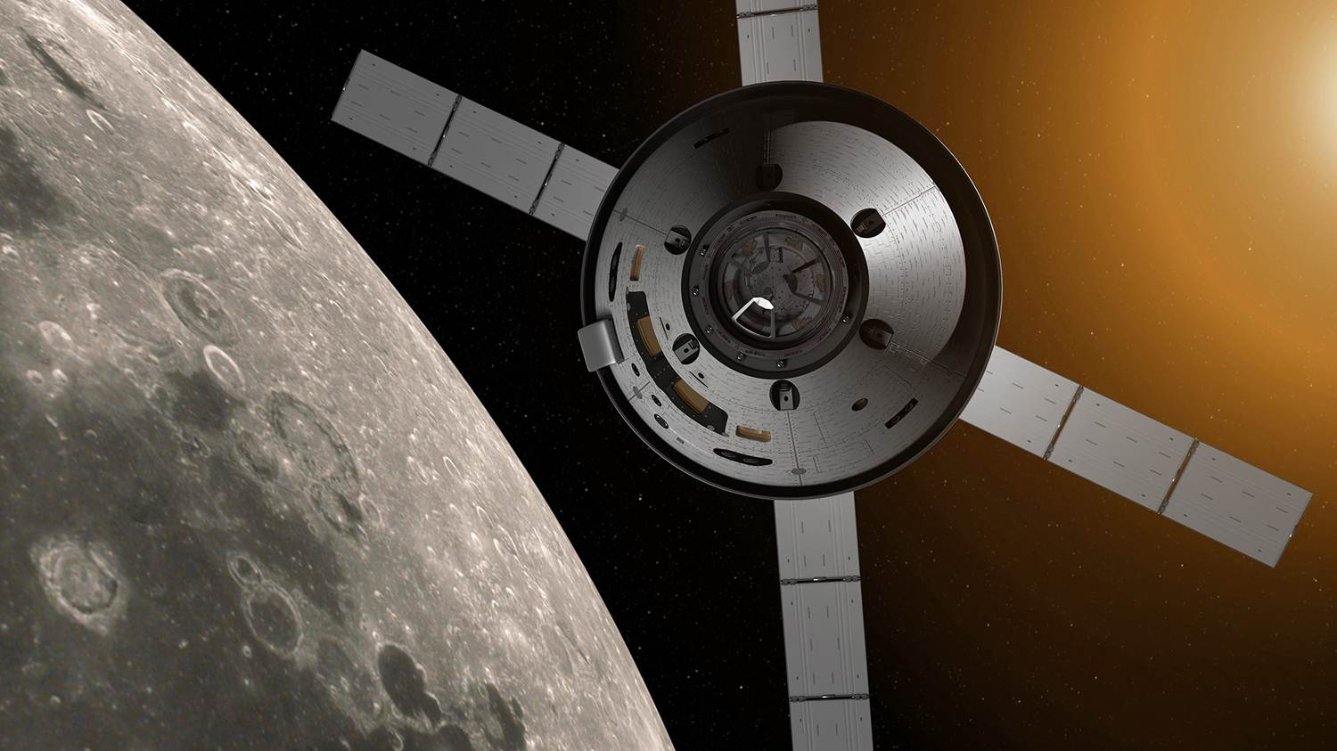 Artist's concept of the Orion spacecraft with the European service module's distinctive X-wing solar panels. Credit: NASA